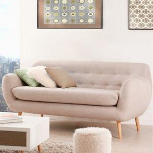 Canapé fixe en tissu 3 places piétement en bois et coussin déhoussable TANGO