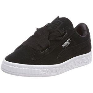 Puma Suede Heart Valentine PS, Sneakers Basses Fille, Noir Black Black, 34 EU