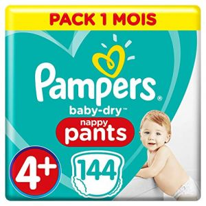 Pampers BABY-DRY PANTS Taille 4+ - 144 couches - Pack 1 mois
