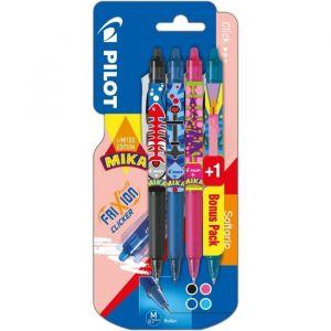 Pilot COLLECTION MIKA Clicker Moyen - Encre noire / rose / bleue + 1 BONUS PACK Turquoise