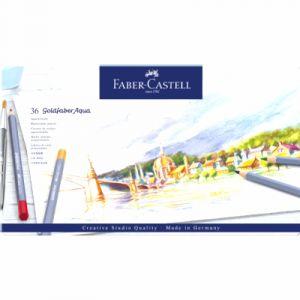 Faber-Castell Boîte de 36 crayons de couleur aquarellables Goldfaber Aqua