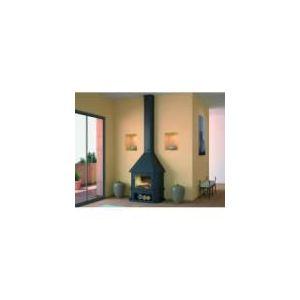 Image de Focgrup CH43 - Cheminée frontale avec porte encadrement laiton, base et foyer réfractaire