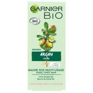 Garnier Bio Baume SOS Multi-Usage Visage, Corps, Mains - Huile d'Argan & karité Bio