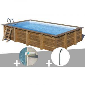 Sunbay Kit piscine bois Evora 6,00 x 4,00 x 1,33 m + Alarme + Douche