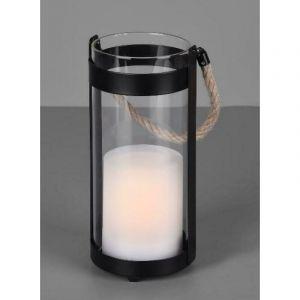 Reality Leuchten Minas R55146132 Lampe solaire LED pour table d'extérieur en métal et verre avec effet vacillant Noir