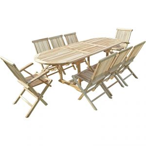 C&L Jardin Mahui - Ensemble salon de jardin en teck 6 chaises 2 fauteuils