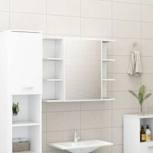 VidaXL Armoire à miroir de salle de bain Blanc 80x20,5x64 cm Aggloméré