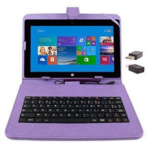 """Duragadget Etui aspect cuir clavier intégré AZERTY pour Microsoft Surface Pro et RT 1 et 2 tablettes 10,6"""" + adaptateur USB & stylet tactile"""