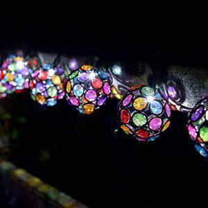 Smart solar Guirlande solaire pierres précieuses multicolores