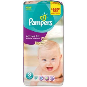 Pampers Active Fit taille 3 (4-9 kg) - 62 couches