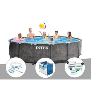 Image de Intex Kit piscine tubulaire Baltik ronde 5,49 x 1,22 m + Kit d'entretien + Bâche à bulles + Kit de traitement au chlore