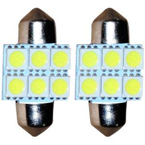 Aerzetix : 2x ampoule C5W 12V 6LED SMD blanc effet xénon 31mm navette éclairage intérieur plaque d'immatriculation seuils de porte plafonnier pieds lecteur de carte coffre compartiment moteur
