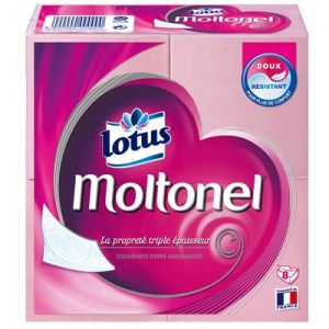 Lotus Moltonel - Papier toilette plat 3 épaisseurs Rose - Lot de 3 paquets de 8 rouleaux