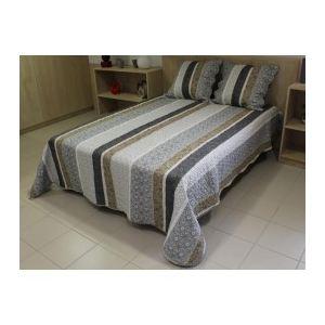 Soleil d'Ocre Couvre-lit boutis matelassé Julia avec 2 taies d'oreiller (220 x 240 cm)