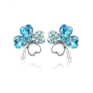 Blue Pearls Cry B301 W - Boucles d'oreilles Trèfle en Cristal de Swarovski