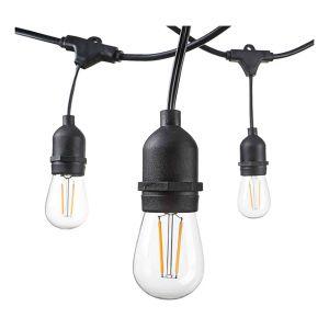 Optonica Guirlande Guinguette Noire Suspendue IP65 6m pour 10 Ampoules E27