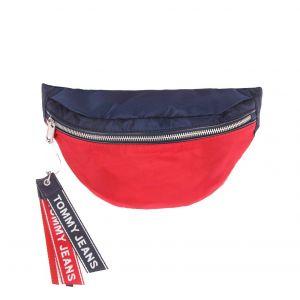Tommy Jeans Sac banane Logo Tape rouge et bleu marine à bandoulière logotypée