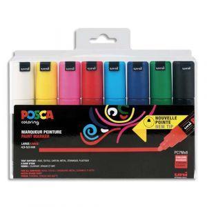 Posca Pochette 8 marqueurs peinture à eau, pointe large conique PC7M. Assortis