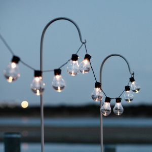Lights4Fun Guirlande Lumineuse Guinguette Solaire avec 10 Boules LED Blanc Chaud