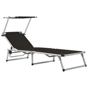 VidaXL Chaise longue pliable Noir Aluminium et textilène