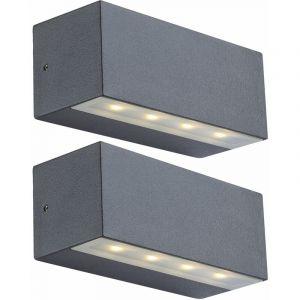 Globo 2 x applique 4 watts luminaire mural IP44 terrasse lampe extérieur aluminium 34152
