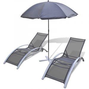 VidaXL Jeu de 3 chaises longues avec parasol en aluminium