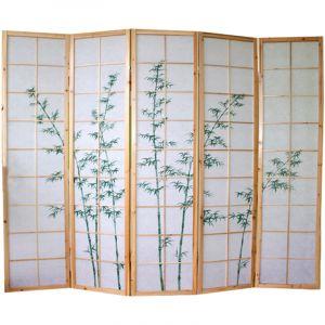 Pegane Paravent bois naturel avec dessin bambou vert - 5 pans -