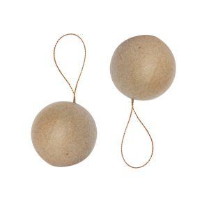 decopatch NO004O - Sachet de 2 boules avec cordon doré 9cm, en papier mâché