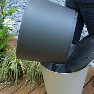 Grosfillex Pot de fleur design Tokyo 40 Diam.39 H.49 - Gris Beige - Extérieur - Soucoupe amovible intégrée