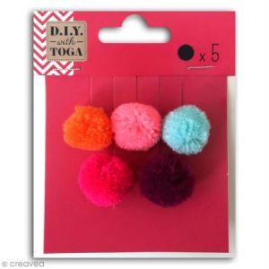 Toga Set de mini pompons ronds - Bohème - 2 cm - 5 pcs