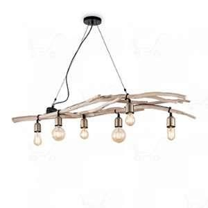 Ideal lux Suspension 6 lampes en bois flotté Driftwood Beige Bois 180922
