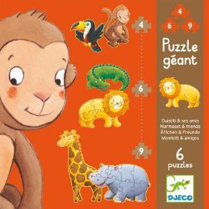 Djeco Puzzle: Ouistiti et ses amis 2 x 9, 2 x 6 et 2 x 4 pièces