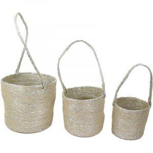 The home deco factory 3 Caches pot à suspendre Panier - Fibres argentées