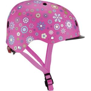 Globber Casque de vélo enfant Elite Lights Pink Flowers T. XS/S