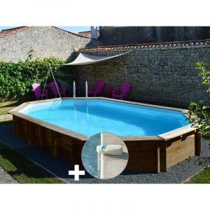 Sunbay Kit piscine bois Safran 6,37 x 4,12 x 1,33 m + Alarme
