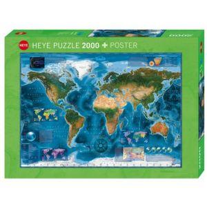 Heye Carte Satellite du monde - Puzzle 2000 pièces
