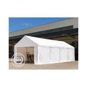Intent24 Abri / Tente de stockage ECONOMY - 4 x 8 m en gris - toile PVC 500 g/m² imperméable / protection contre les rayons UV (80+) / structure robuste en acier galvanisé.FR