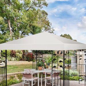 COSTWAY Toile de Toit de Rechange 3 x 3 M en Polyester Carré Anti UV pour Tonelle de Jardin en Couleur Beige