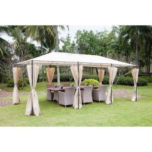 Tonnelle de jardin En acier polyester 6 x 3 m Beige