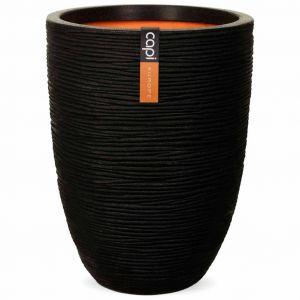 Capi Pot à fleurs Nature Rib Élégant bas 46 x 58 cm Noir KBLR783
