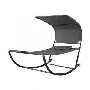 Sobuy OGS44-DG Transat de Jardin Transat à Bascule avec Pare-Soleil et 2 roulettes Chaise Longue à Bascule Bain de Soleil Confortable - Gris
