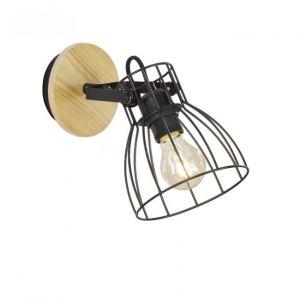 Fischer Applique Die aspect bois et abat-jour cage