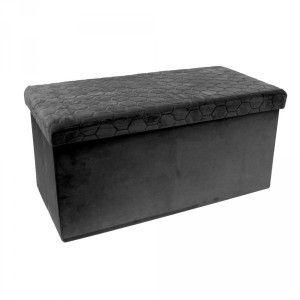 Declikdeco Coffre banc pliable velours noir assise relief