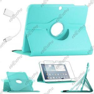 Kit D'accessoire Housse Coque Etui Pu Cuir Rotatif 360° Couleur Bleu + 1 Adaptateur Micro Usb Otg Vers Usb Female + 1 Film Pour Samsung Galaxy Tab 3 10.1 P5200 P5210 P5220 Gt-P5210 10 Pouces