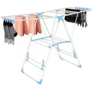 Storaddict Séchoir à Linge Réglable, Etendoir à Linge Pliable, Blanc/Bleu, Taille déployée: 138 x 95 x 56 cm