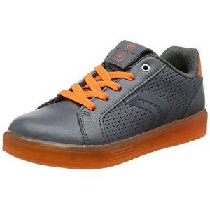 Geox Kommodor B, Sneakers Basses Garçon, Gris (DK Grey/Orange), 40 EU