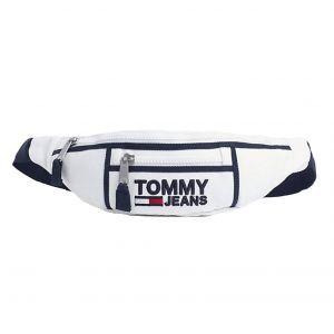 Tommy Jeans Sac banane Heritage en coton blanc brodé