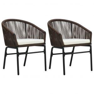 VidaXL Chaises de jardin 2 pcs Marron Rotin PVC
