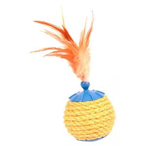 Duvo+ Cat Toy Sisal Ball With Feathers 19 X 8 Cm