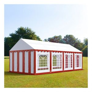 Intent24 Tente de réception 4 x 8 m PVC rouge-blanc
